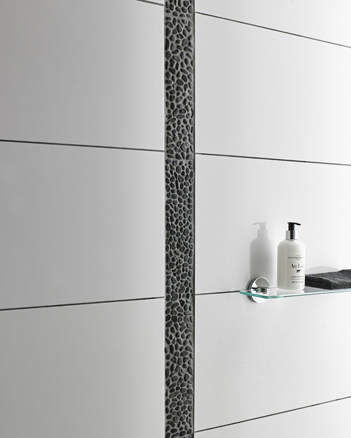 Premium Black Pebble Border Tiles from Tile Mountain