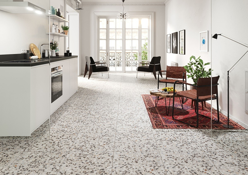 Ofelia Rustic Porcelain Terrazzo Floor Tiles from Tile Mountain