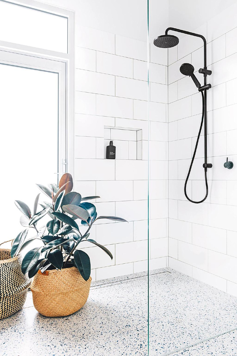 Terrazzo Floor Shower with Black Fixtures
