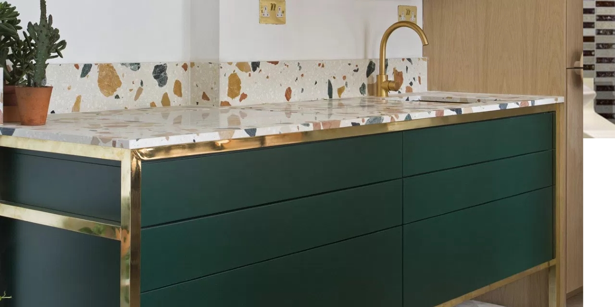 countertop green terrazzo bar kitchen glass top shaker island recycling custom reclaimed distressed in block cabinets wood butcher ideas rustic eco countertops friendly style