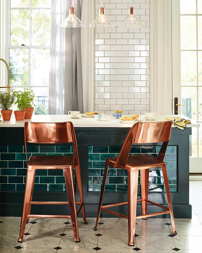 Emerald Green Kitchen Island Tiles