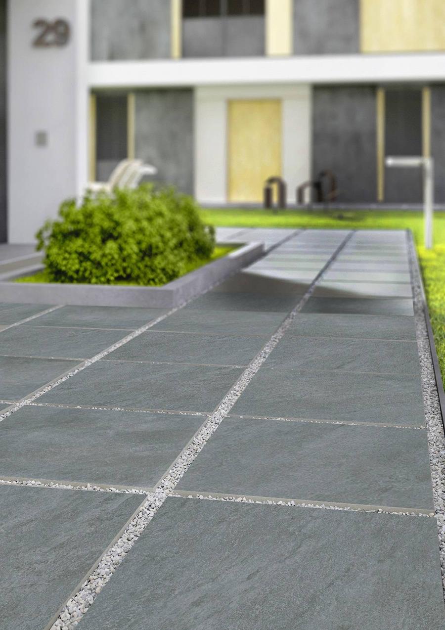 Dakota Light Grey Outdoor Riven Porcelain Slab Tiles