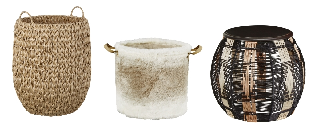 Rattan All Basket, / White & Grey Furry Basket / Drum Side Table with Wooden Top / all Homesense
