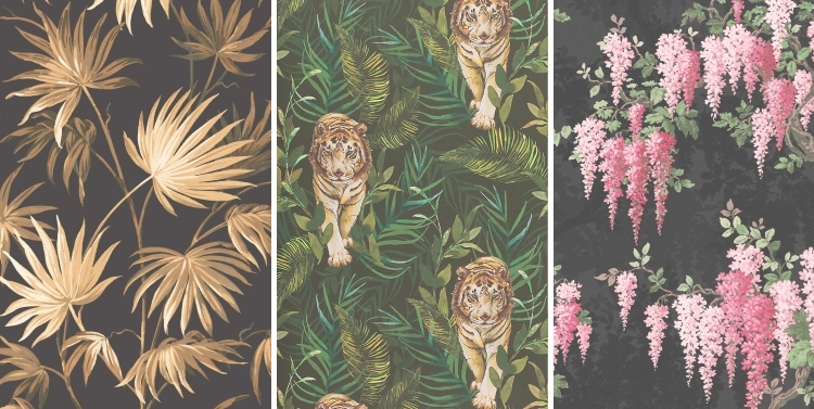 Wisteria in Noir wallpaper by Woodchip & Magnolia | Tiger Tiger wallpaper by Limelace | Va Va Frome Noir Leaf wallpaper by Wisteria in Noir