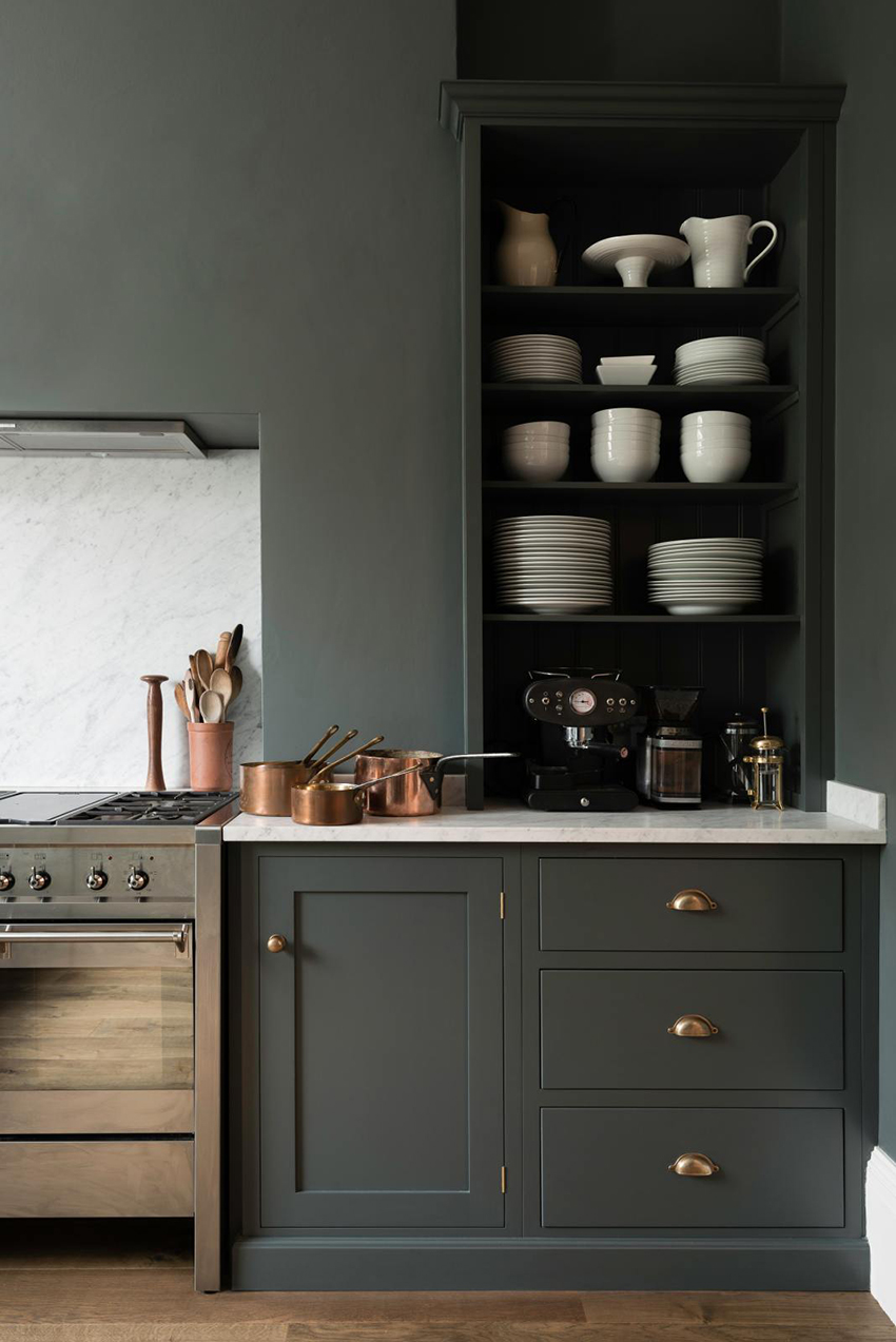 Mixed metallics in a dark kitchen