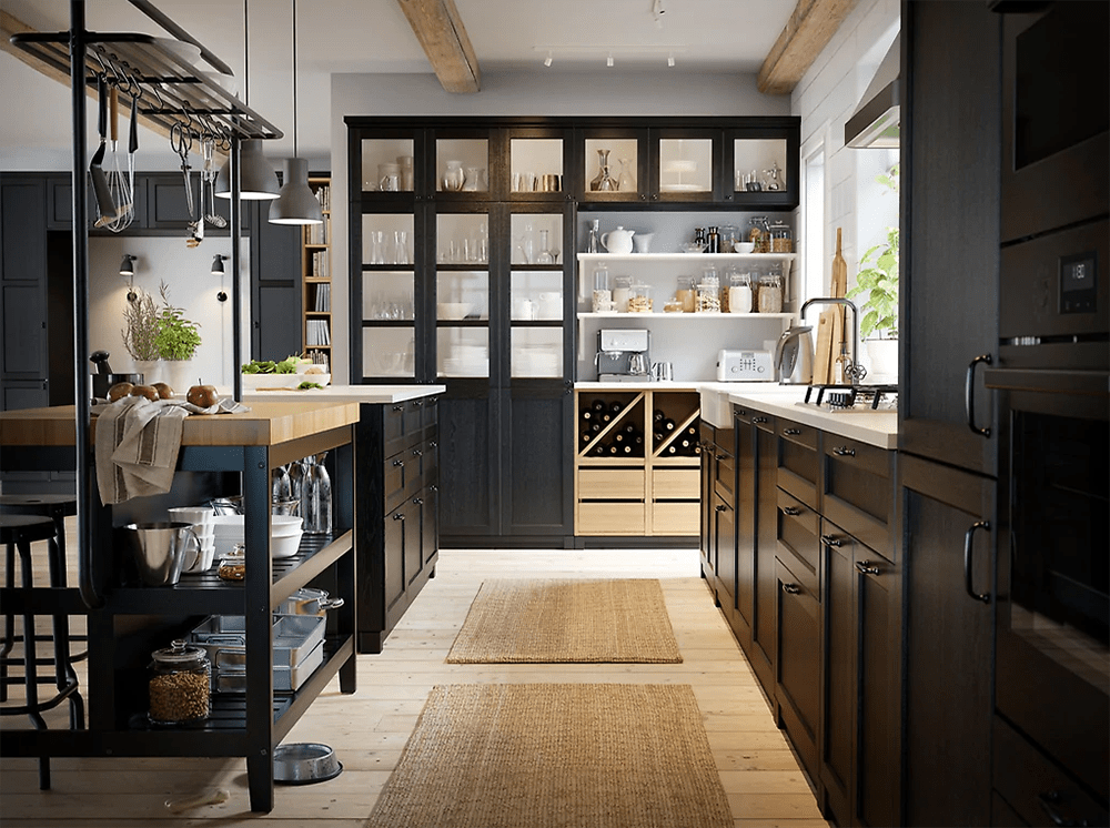 Ikea Dark Kitchen cabinets with light paint colour and flooring