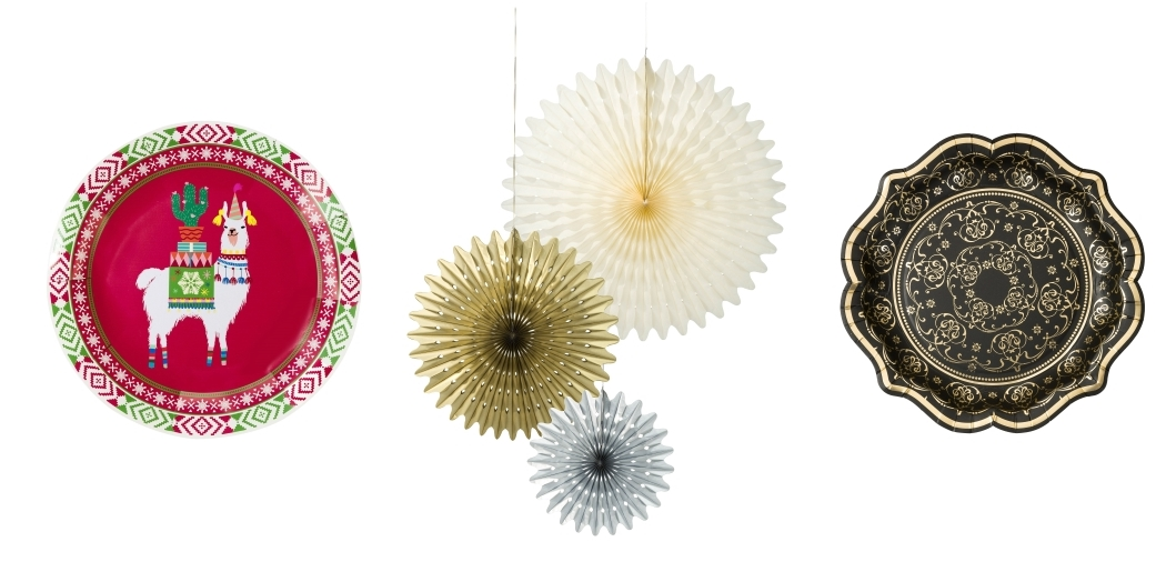 Festive LlamaPlates by Luck & Luck | Honeycomb Hanging Decorations by Talking Tables | Black & Gold PorcelainParty Paper Plates by Talking Tables