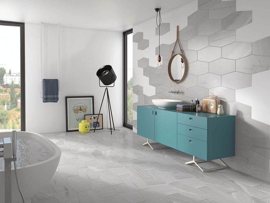 Stone Cut Hex Matt Grey Wall and Floor Tiles | Tile Mountain