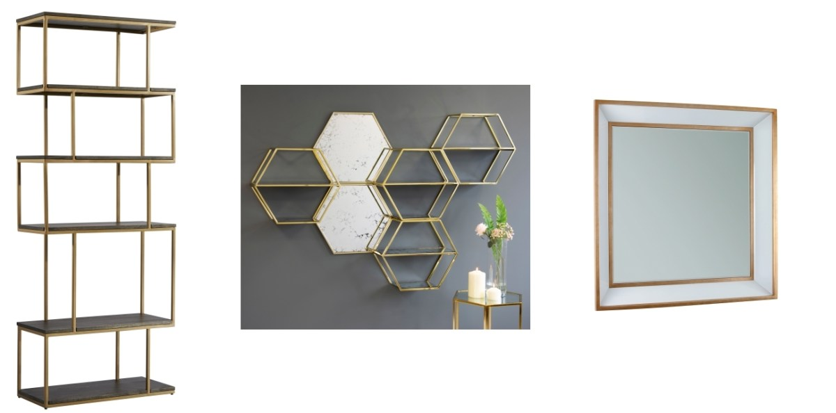 Metal Balance Alcove Shelving | Alveare Brass Wall Shelves and Mirrors by Terrance Conran | Roedera Mirror by My-Furniture
