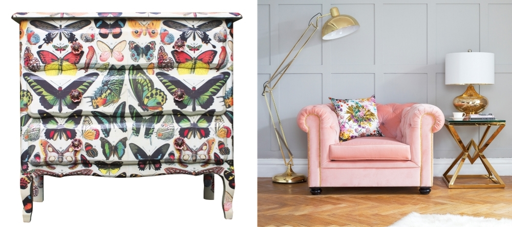 Hand Decorated Butterfly Chest from The Natural History Museum Shop | Vintage Rose Berkley armchair from Sweetpea & Willow