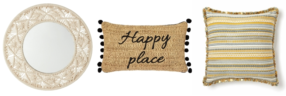 Macramé Mirror | Happy Place Cushion | Striped Fringed & Sequinned Cushion - all Monsoon