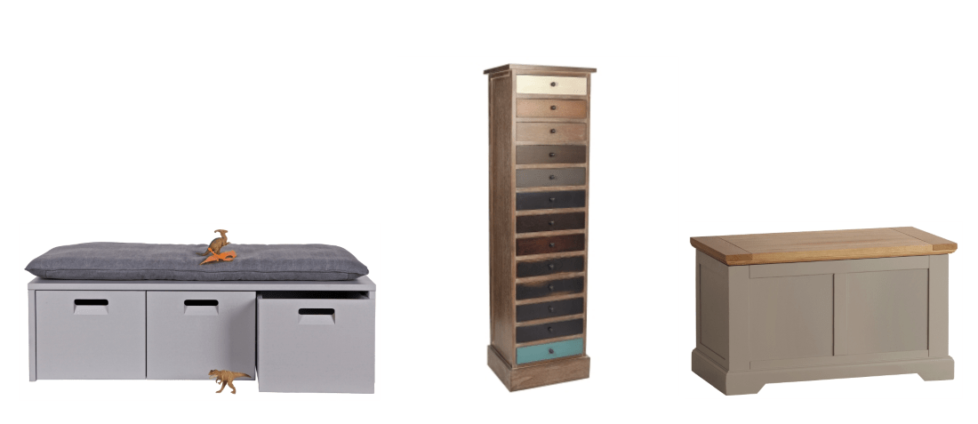 Woood Industrial Locker Storage Bench Combination from Cuckooland |13 Drawer Chest from Melody Maison | St Ives Oak & Grey Blanket Box from Oak Furnitureland