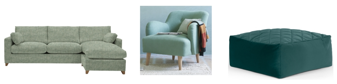 Ashwell Chaise-Storage-Sofa from Willow & Hall | Diggidy Armchair from Loaf | Loa Quilted Floor Cushion from Made.com