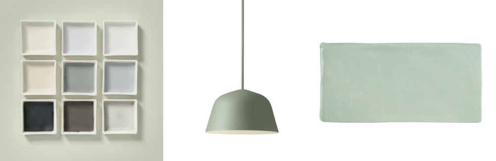 Tranquil Dawn by Dulux | Ambit Ceiling Pendants by Chaplins Furniture | Craquele Glazed by Tile Mountain