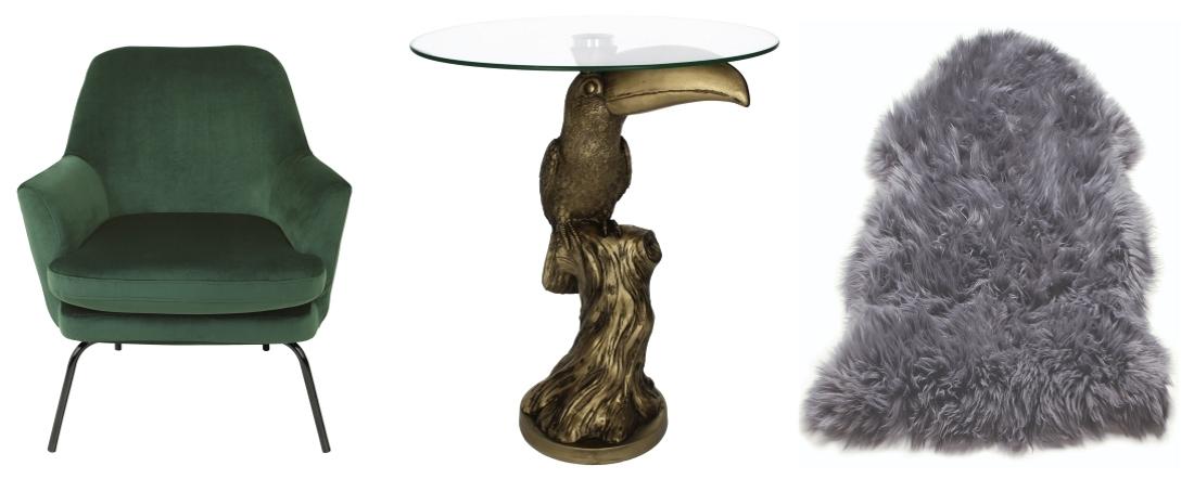 Celine Green Velvet Armchair from Habitat | Gold Toucan Side Table from Artisanti | Asiatic Sheepskin rug from Cult Furniture