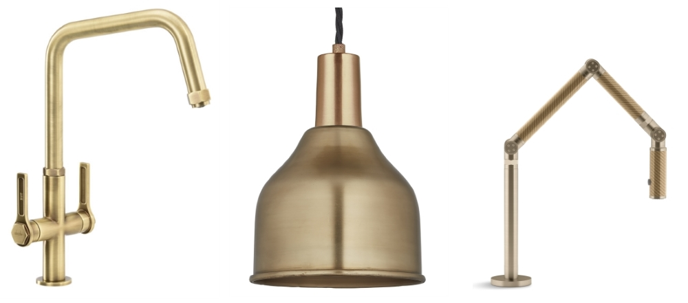 Hex Monobloc Tap in Antique Brass by Abode | Cone Pendant by Industville | Karbon Single Lever Tap by Kohler