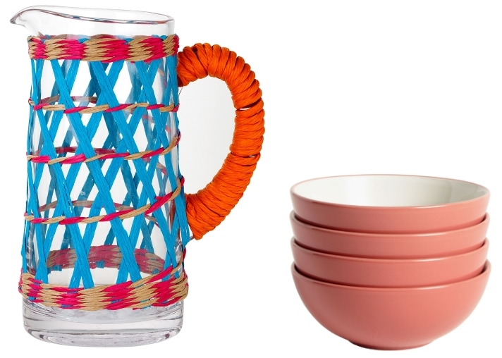 Boho Spice Glass Pitcherfrom Talking Tables | Cereal Bowls in Coral from John Lewis & Partners