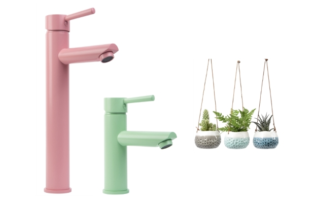 Miami Pink Inga Tap & Neo Mint Kagera Tap from Dowsing & Reynolds | Hanging Pot Trio from Annabel James