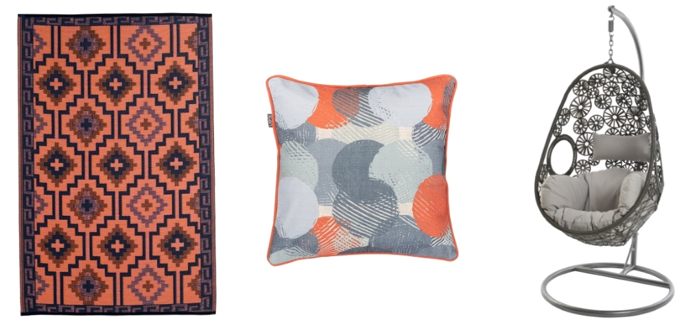 Fab Hab Lhasa Outdoor Rug from Cuckooland | Reversible Coral Abstract Circles & Stripes Cushion from Bean Bag Bazaar | Bahia Hanging Garden Chair from Ella James