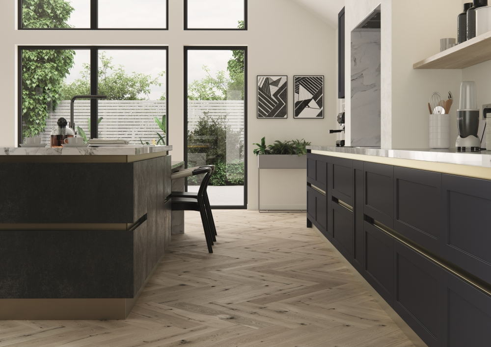 Cambridge Indigo Blue and Smoked Steel Litchen from the Cucine Colore Collection | Mereway
