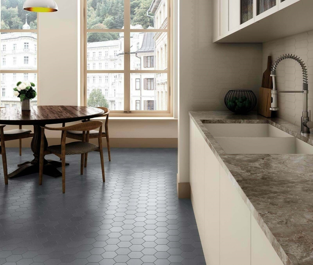 Kromatika Hexagon Grey Porcelain Wall & Floor | Tile Mountain