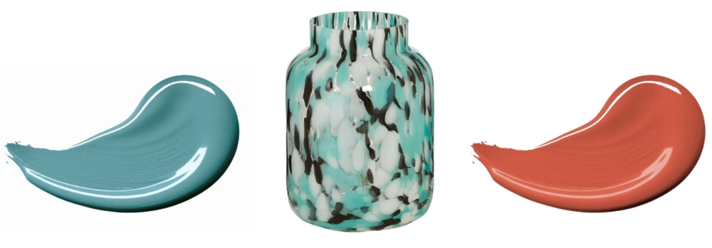Totally Teal 503033 by Dulux Trade Archive | Turquoise Speckled Vase from House of Flora | Rocket Fire by Dulux Trade Archive