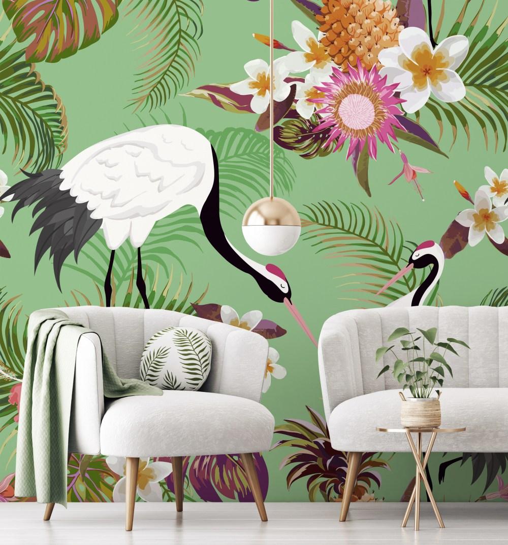 Tropical Green Cranes Mural | Wallsauce