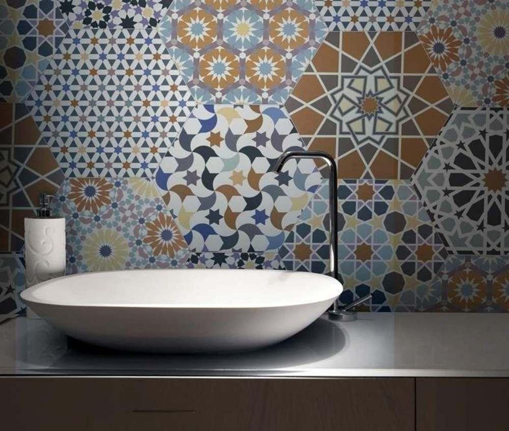 Andalucia Hexagon Patterned Porcelain   Tile Mountain