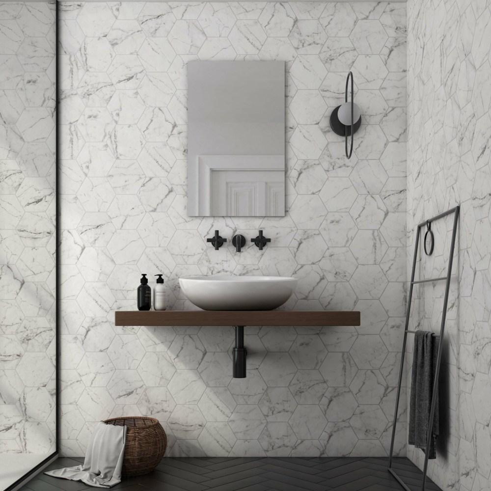 Hexagon Carrara Marble Effect | Tile Mountain
