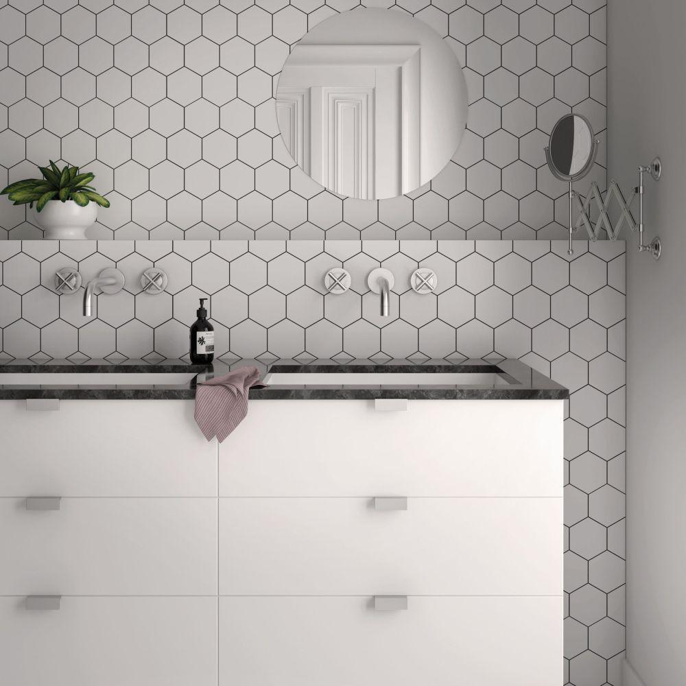 Kromatika Hexagon White Porcelain   Tile Mountain