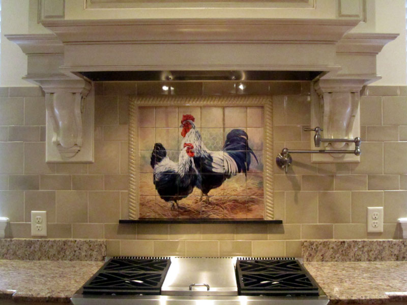 kitchen tile murals facelift before and after rooster tiles backsplash black hen mural