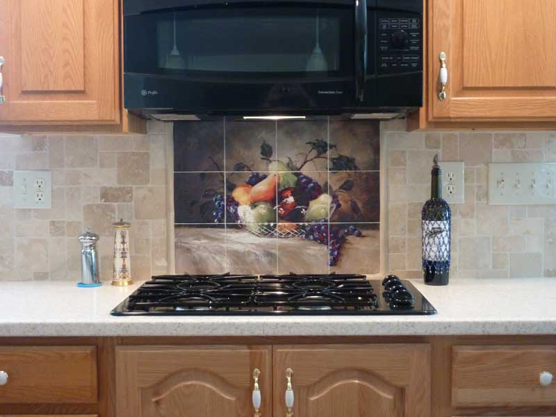kitchen tile murals fans with lights decorative backsplash ideas americas bounty mural