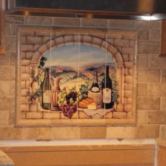 Kitchen Tile Murals Retro Appliances For Sale Decorative Backsplash Ideas Tuscan Wine Mural