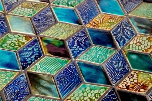 Diamond tiles in three glazes by Guy Mitchell Design