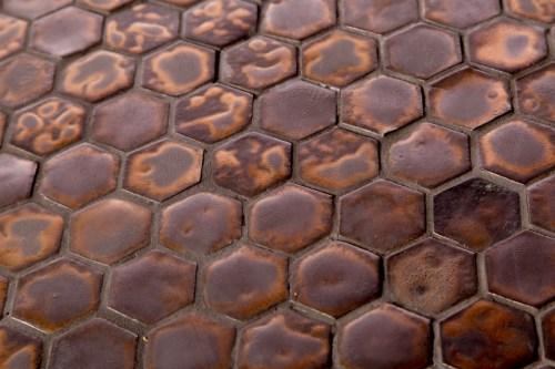 MALASANA Black and Gold Mini Hexagon Mosaic Tiles by Guy Mitchell Design