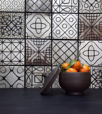FLM Ceramics' Sound Wave Tile Series. Shown is Variegated Sound Wave in Cast Iron