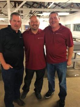 Leo Reynaga & VCT owners Robby Martinho (L) Eddie Martinho (R).jpg – Leo Reynaga is flanked by Visalia Ceramic Tile owners, Robby Martinho (l) and Eddie Martinho.