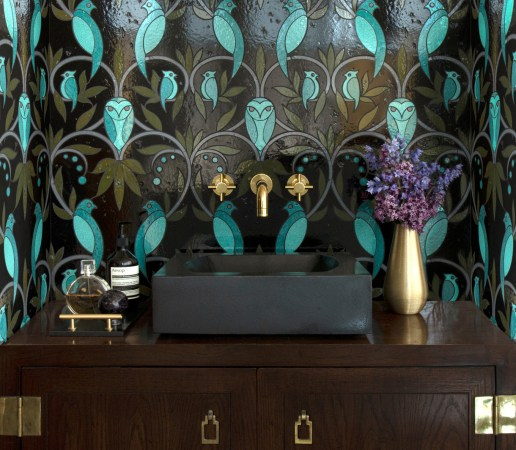 Byrd, a waterjet stone mosaic shown in polished Dahlia background with Spanish Moss lines and Aloe, Lotus, Olive, and Glazed Basalto™ details.