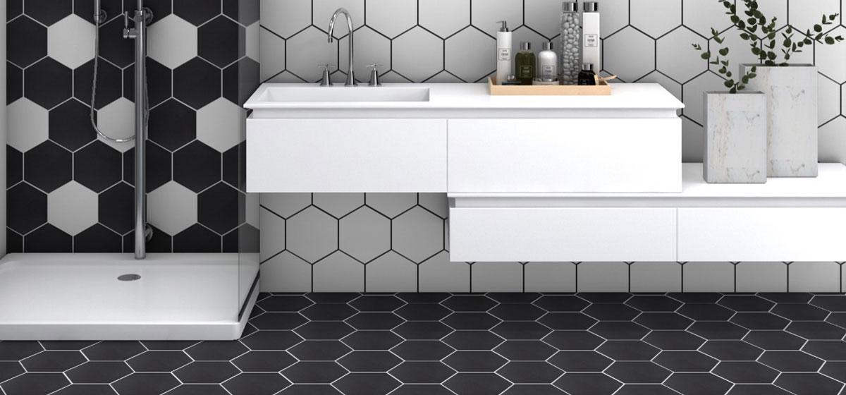 hexagon shaped wall and floor tiles