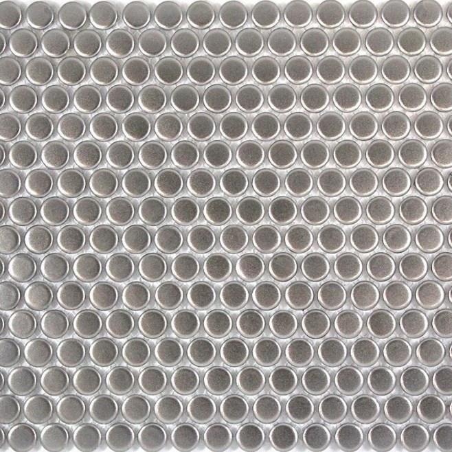 metallic silver penny porcelain mosaic