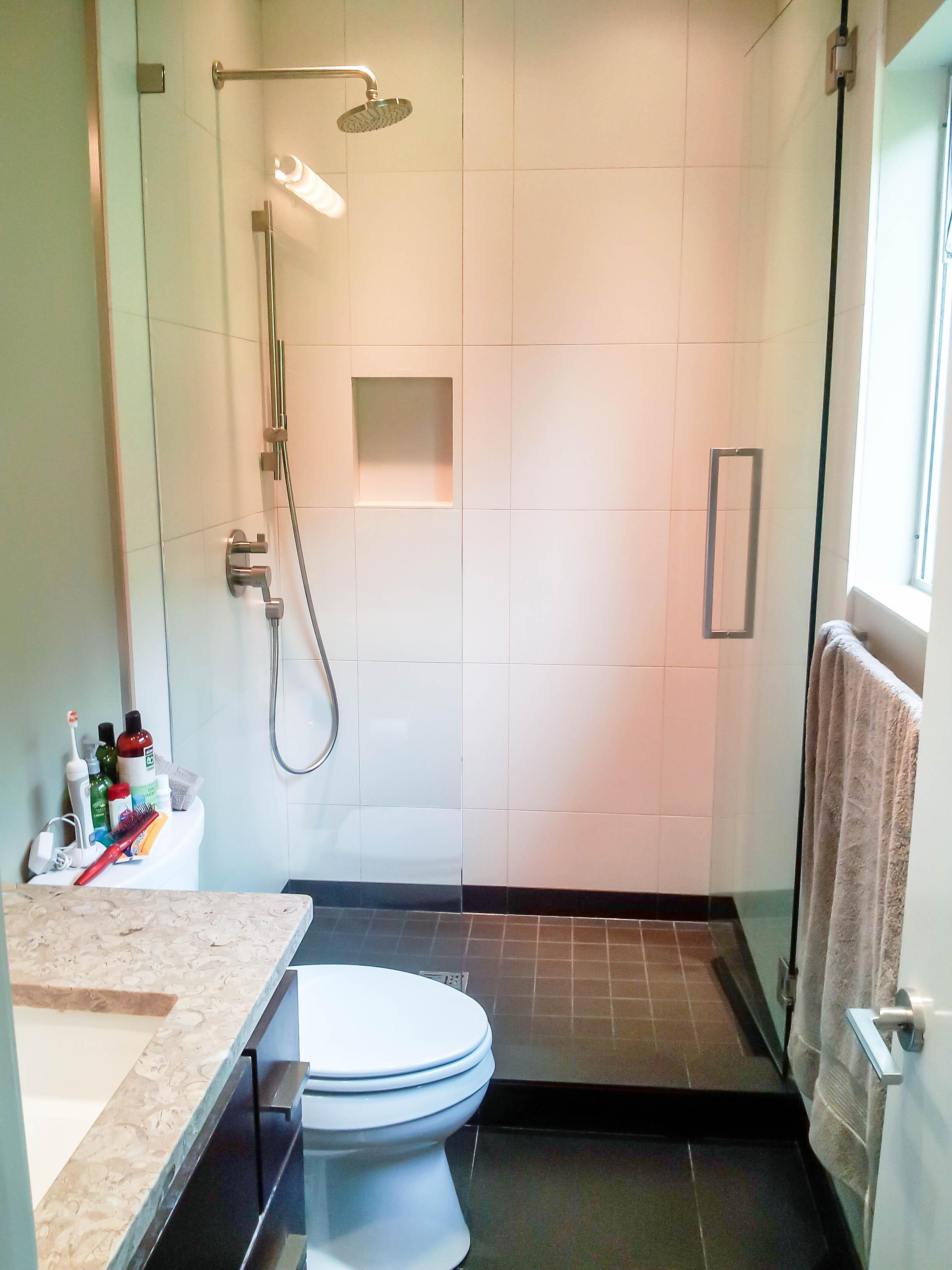 installing kitchen backsplash antique grey cabinets bathroom showers photos - seattle tile contractor | irc ...