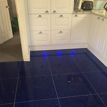 cork flooring in kitchen small island ideas with seating sapphire blue quartz tiles - stardust | tilesporcelain