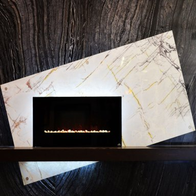 Bolder Panel Fireplace in the Stone Source - Tile Source International Showroom