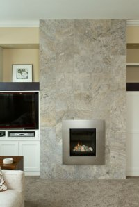 Silver Travertine fireplace install - SALE - Tile Stone Source
