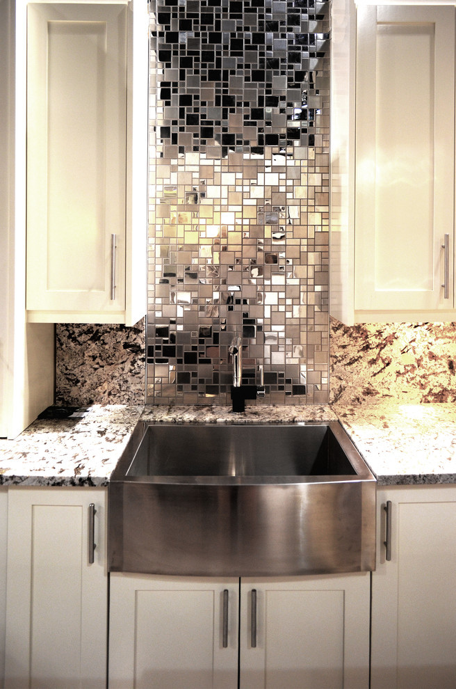 Stainless French Random mosaic installed as a backsplash