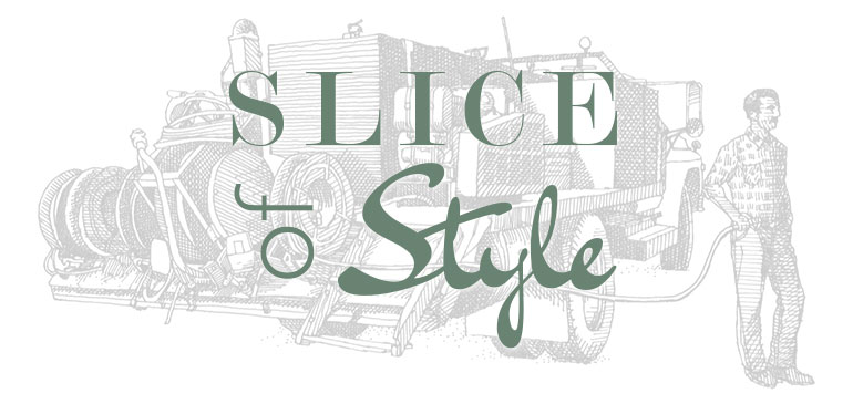 Slice Of Style logo. Background image is of a man with a trailor full of tools, the June 2015 Slice of Style article is about being your own general contractor