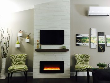 Expression Anchorage 3D Wood Wall Panelling installed on a fireplace