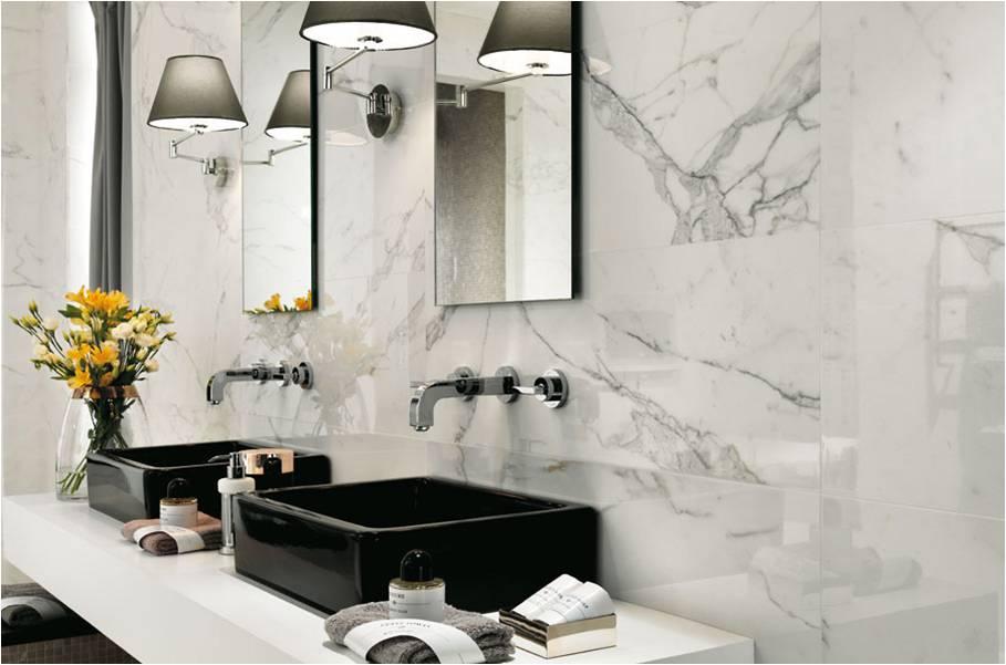 Marble Imitation Calacutta X installed as a backsplash