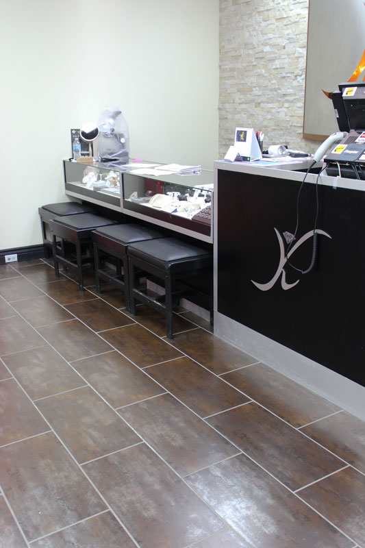 Metallic Copper Porcelain installed at Kyle's Jewelry