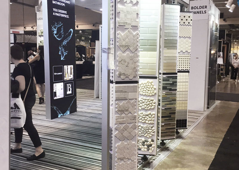 Tile and Stone Source mosaic racks in the new tradeshow booth